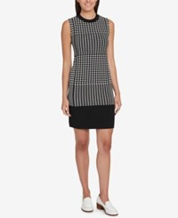 Tommy Hilfiger Houndstooth Sheath Dress Created For Macy's Ivory Black