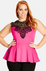 Plus Size Women's City Chic 'Lace Love' Top Hot Pink