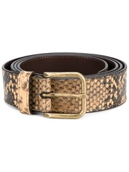 Dries Van Noten Cracked Snakeskin Effect Belt Brown