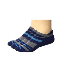 Feetures High Performance Cushion No Show Tab 3 Pair Pack Navy Pattern No Show Socks Shoes Multi