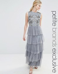 Maya Petite Sleeveless Maxi Dress With Embellished Bodice And Ruffle Skirt Grey