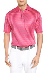 Bobby Jones Men's Boardwalk Stripe Golf Polo Persian Pink