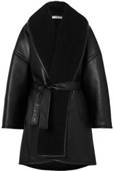 Balenciaga Oversized Belted Faux Shearling Trimmed Faux Leather Coat Black