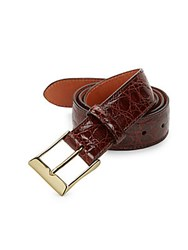Saks Fifth Avenue Crocodile Leather Belt Cognac