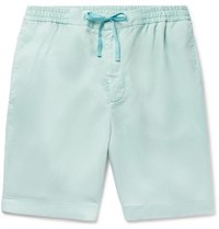 Officine Generale Pleated Lyocell Drawstring Shorts Mint