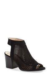 Women's Vince Camuto 'Lavette' Perforated Peep Toe Bootie Black Leather