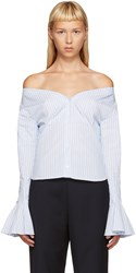 Jacquemus Blue And White Off The Shoulder Shirt
