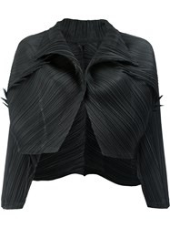 Issey Miyake Pleats Please By Pleated Cropped Jacket Women Polyester 3 Black