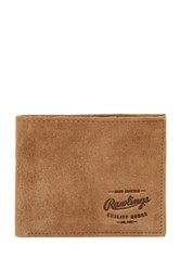 Rawlings Sports Accessories Double Steal Suede Bi Fold Wallet Brown