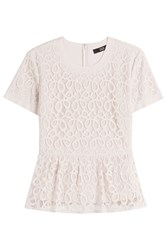 Steffen Schraut Cotton Blend Lace Top With Peplum Beige