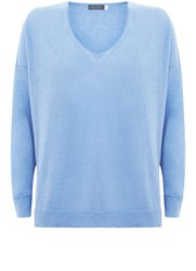 Mint Velvet Bluebell V Neck Side Split Knit Blue