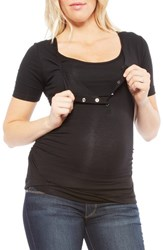 Women's Nom Maternity Ruched Nursing Maternity Tee Black