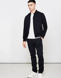 The Idle Man Baseball Style Bomber Jacket Navy