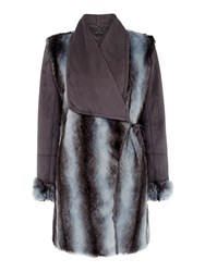 Pennyblack Affabile Faux Fur And Suede Coat Blue