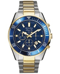 Bulova Men's Chronograph Marine Star Two Tone Stainless Steel Bracelet Watch 43Mm 98B230