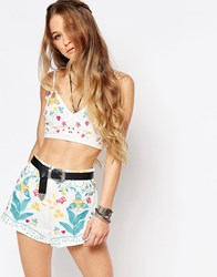 Honey Punch Boho Festival Strappy Bralet With Floral Embroidery Cream