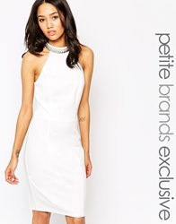 Paper Dolls Petite Halter Neck Pencil Dress With Chain Collar White