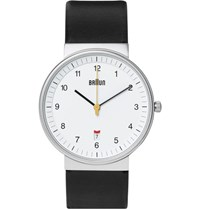 Braun Bn0032 Stainless Steel And Leather Watch Black