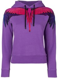 Marcelo Burlon County Of Milan Wing Print Hoodie Pink And Purple