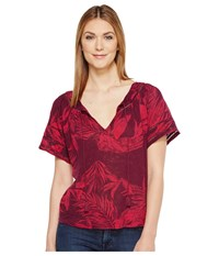 Lucky Brand Tropical Leaves Peasant Top Red Multi Women's Short Sleeve Pullover