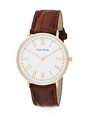English Laundry Rose Goldtone Stainless Steel Interchangeable Embossed Leather Strap And Mesh Bracelet Watch