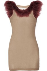 Maison Martin Margiela Feather Embellished Ribbed Modal And Cashmere Blend Tank Mushroom