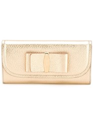 Salvatore Ferragamo Bow Detail Wallet Metallic