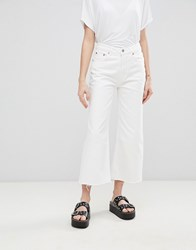 Cheap Monday Mid Rise Relaxed Fit Cut Off Jean Blank White