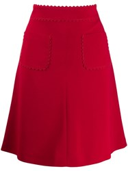 Red Valentino Scalloped Trim A Red