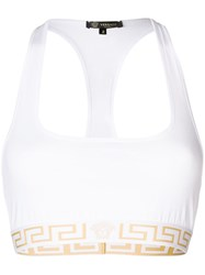 Versace Logo Elastic Trim Sports Bra White