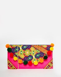 Moyna Foldover Clutch Bag With Embroidery And Pom Pom Trim Multi