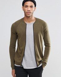 Asos Knitted Bomber In Merino Wool Mix Military Green