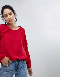 B.Young Ruffle Sleeve Blouse Crimson Red