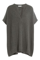 Brunello Cucinelli Cashmere Poncho Top With Embellishment Grey