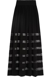 Michael Kors Collection Lace Paneled Silk Georgette Maxi Skirt Black