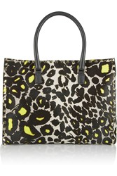 Valentino Leather Trimmed Leopard Print Calf Hair Tote Animal Print