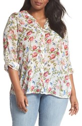 Kut From The Kloth Plus Size Women's Jasmine Floral Roll Sleeve Top White