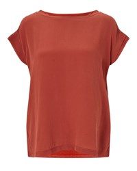 Jigsaw Silk Front Layered Sleeve Tee Orange
