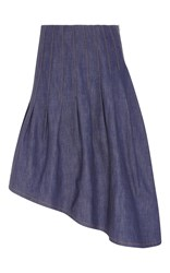 Suno Asymmetric Denim Midi Skirt Blue