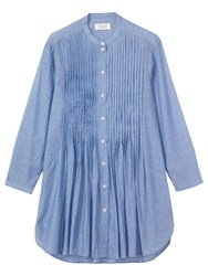 Toast Long Sleeve Pleated Shirt Chambray Blue