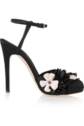 Giambattista Valli Embellished Satin Sandals Black