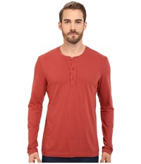 Michael Stars Long Sleeve Henley Brick Men's Clothing Red