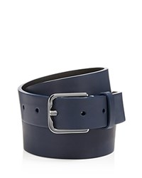 Upton Fifty Leather Belt Navy Polished Silver