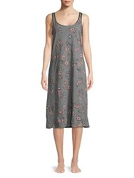Lord And Taylor Long Floral Chemise Marigold