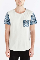 Bdg Blocked Tile Print Standard Fit Wide Neck Tee Blue