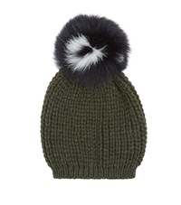 Sandro Billie Knitted Pom Pom Beanie Female Green