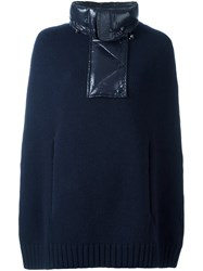Moncler Padded Collar Knit Cape Blue