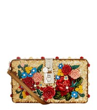 Dolce And Gabbana Floral Sequin Box Clutch Female Red