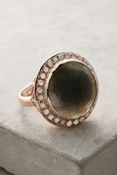 Anthropologie Labradorite And Opal Cocktail Ring In 14K Rose Gold Mint