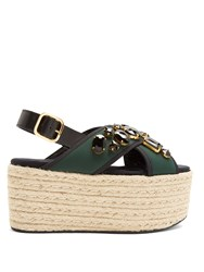 Marni Fusbett Neoprene And Leather Flatform Sandals Green Multi